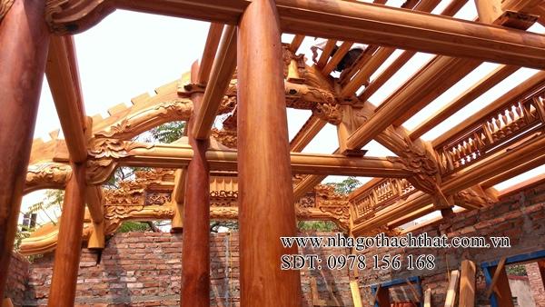 nhà ba gian gỗ xoan