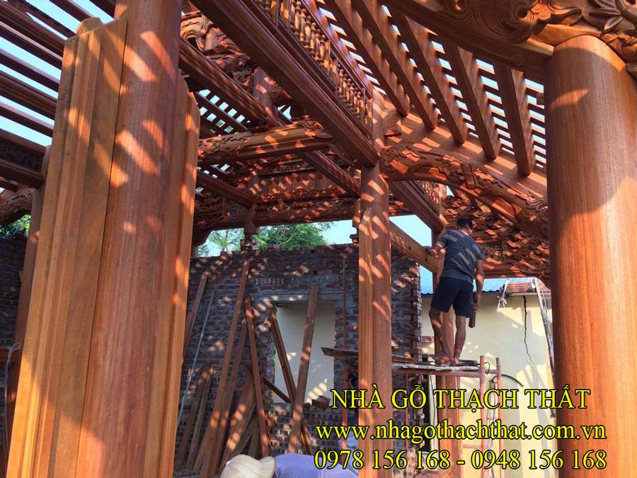 Thi công nhà thờ họ 3 gian gỗ lim nam phi – Hưng Yên
