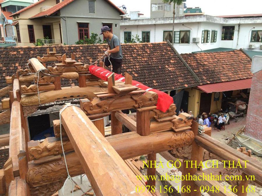 Thi công nhà thờ tổ 3 gian gỗ lim lào tại Chùa Phượng Trì – Đan Phượng – Hà Nội