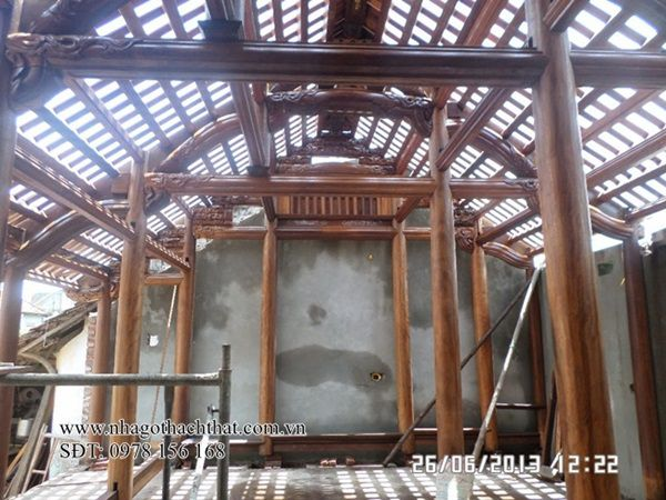 Mẫu nhà gỗ lim 3 gian cổ truyền